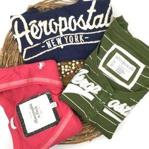3 Vintage Aeropostale, Abercrombie  T-shirts M